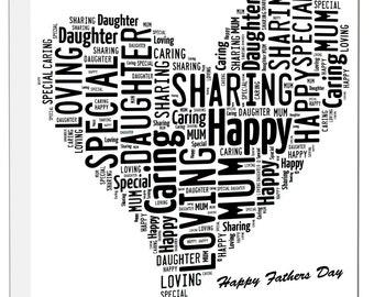 Heart Word Art Design, Framed Canvas Print