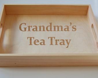 Personalised Breakfast Tray, Tea Tray, Wooden Tray, Cake Tray,  Serving Tray, Gardening Tray, Engraved Family Tray