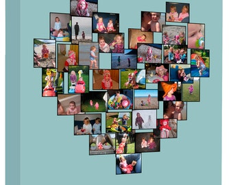 Personalised Heart Photo Collage on Canvas, Ready to hang