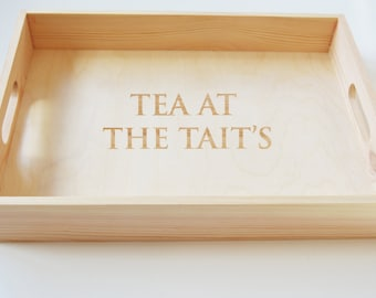 Mothers Day, Personalised Wooden Tray, Breakfast Tray, Tea Tray, Serving Tray, Gardening Tray, Engraved Family Tray 40x30cm