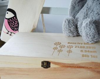 Personalised Baby Keepsake Box, Personalised Wooden Keepsake Box, Baby box, Christening Gift Box, Memory Box, 20x30cm Box