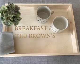 Personalised Wooden Tray, Breakfast Tray, Tea Tray, Serving Tray, Gardening Tray, Engraved Family Tray 40x30cm