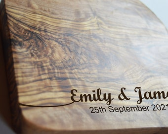 Personalised Engraved Solid Olive Chopping Cheese Board Birthday Wedding Engagement Moving In Anniversary Gift