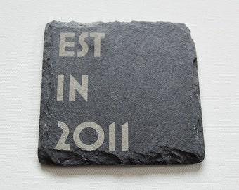 Personalised Engraved Slate Coasters, Wedding Slate Coasters, Custom Coasters, Tiles Wedding Gift, House Gift, Anniversary, Est In Date