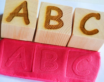 Wooden Letter Playdough Stamps, Number Stamps, Name Stamps, Personalised Playdough Set, Alphabet Stamps, Display Blocks, Building Blocks
