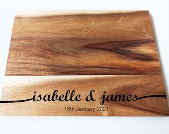 Personalised New Wedding Gift- Acacia Wood Chopping Board -Engraved Cutting Board - Custom Made - Cutting Board - Made to Order