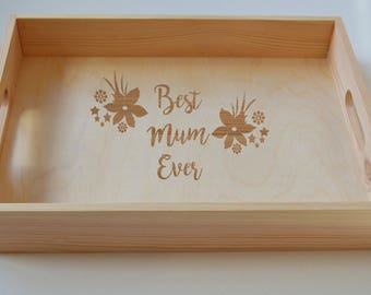 Personalised Wooden Engraved Breakfast Tray, Mothers Day Gift, Tea Tray, Gardening Tray, Engraved Family Tray 40x30cm