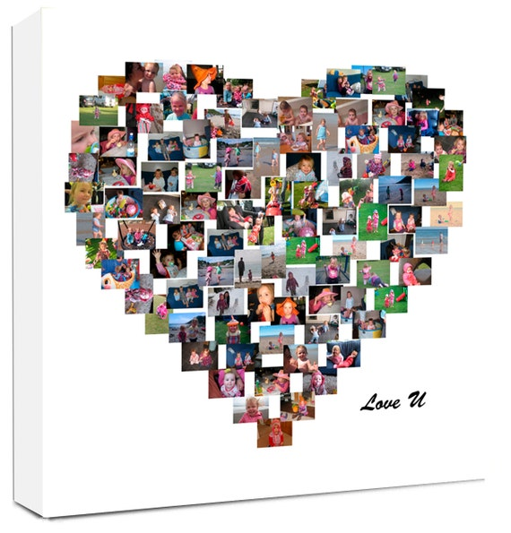 Personalised Collage Heart Shape Photo Collage On Canvas Etsy