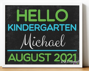 Back to School Chalkboard Print - Hello First Day of School Photo Prop for Kids