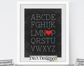 Printed ABC I Love You Chalkboard Print - Wall Print - Art - Alphabet - Baby Shower Gift
