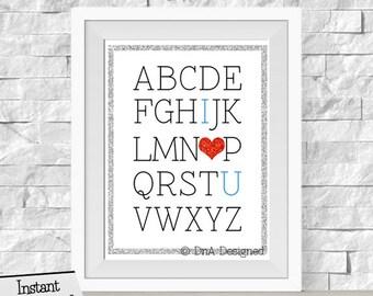 ABC I Love You Glitter DIGITAL Print - Nursery Art - Playroom Decor - Instant Download - DIY