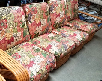 Vintage Restored Original Spring Loaded Cushion Pair For Mid Century Rattan  Sofa And Chairs RARE