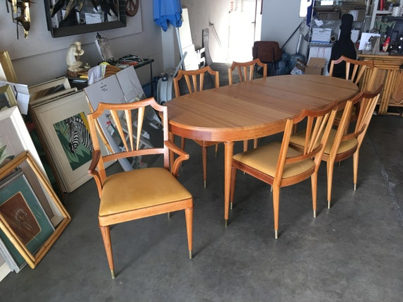 Formal Mid-Century Dining Room Table & Set of Six Chairs