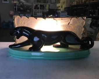 Mid-Century Black Panther Ceramic Statue Lamp w/ Whipple Stitch Fiberglass Shade