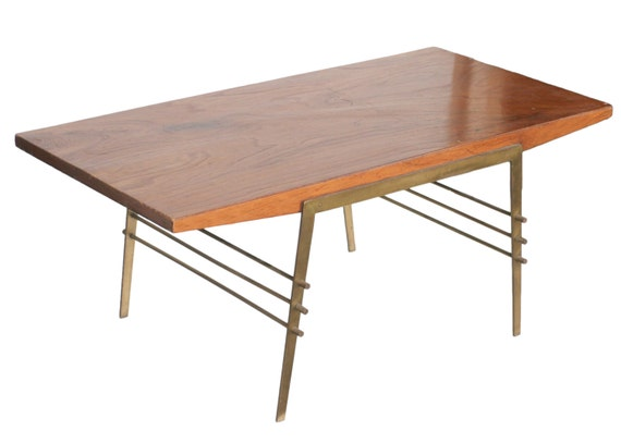 Terrific Mid Century Oak Coffee Table With Brass Architectural Base Machost Co Dining Chair Design Ideas Machostcouk