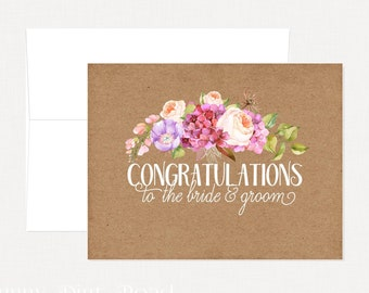 Wedding greeting cards etsy ca rustic floral wedding card congratulations engagement card anniversary card wedding card m4hsunfo