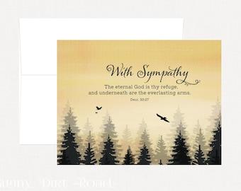 Sympathy Card, Sympathy Religious Card, Sympathy Bible Verse Card, Sympathy Watercolor Card