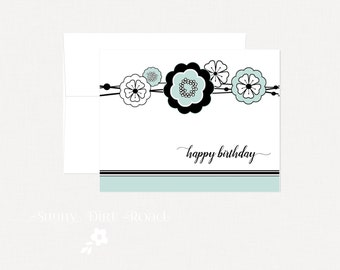 Blue Flowers Birthday Card