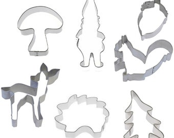7 Piece Woodland Gnome Critter Cookie Cutter Set
