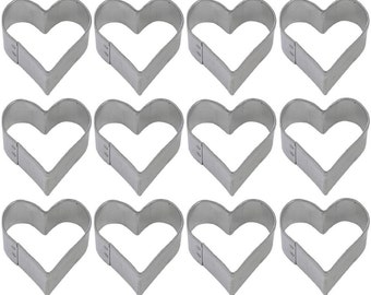 1 Dozen Mini Heart 1.5'' Cookie Cutters Wedding Favors