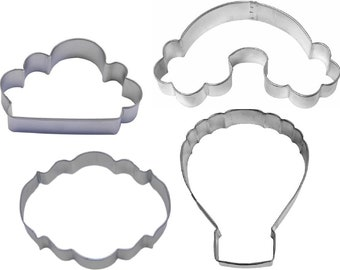 4 Piece Hot Air Balloon Rainbow Cloud Plaque Cookie Cutter Set