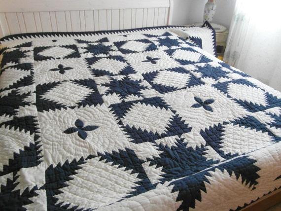 Quilt Bettüberwurf Übergröße blau weiß Bettdecke Handarbeit | Etsy