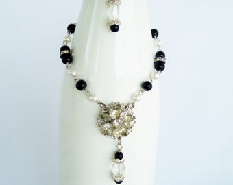 Wine Bottle Decor with Vintage Crystal Earring and Black and White Pearl Beads Crystal Rhinestones - Wine Accessories