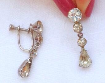 Vintage Rhinestone Dangle Screwback Earrings - Wedding Rhinestone Earrings