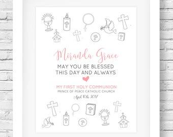 First Communion// Gift Printable // Custom Name Wall Art // Communion Girl // 1st Communion present // First Communion Printable