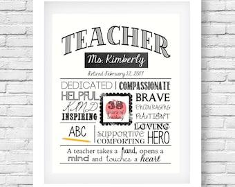 Teacher retirement printable- Retirement party- Teacher retirement gift - Teacher retiree - Retirement present