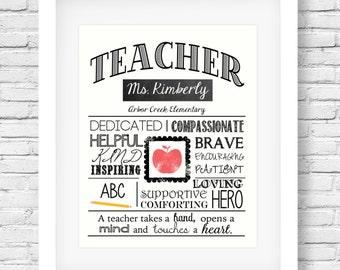 DIGITAL FILE Teacher's Printable - Teacher Appreciation - Teacher gift - End of year - Teacher retirement - Personalized