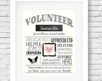 Volunteer gift - Volunteer appreciation - Volunteer thank you - Volunteer present - Volunteer printable