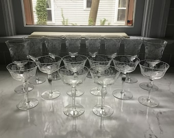 Antique Etched Crystal Champagne Coupes and Wine Glasses - set of 16