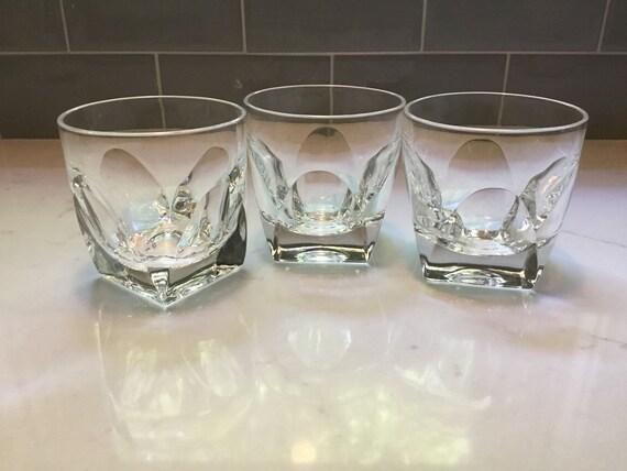 Vintage verres de roches de cristal - lot de 3