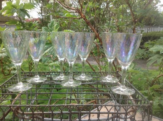 Iridescent Crystal Wine Glasses Set Of