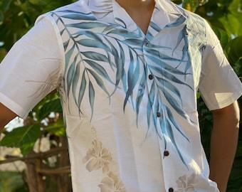 Made in Hawaii, USA - Natural Shoulder Fern Aloha Shirt- Cotton - Big and Tall Available, Small - 2XL, 3XL,4XL,5XL,6XL,7XL