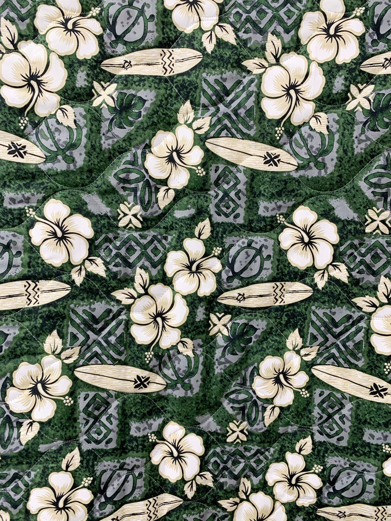 Quilted Fabric 60 inch Wide 100/% Cotton Hibiscus Flower and Surf Board Print Exclusive Designs Sold by Yard