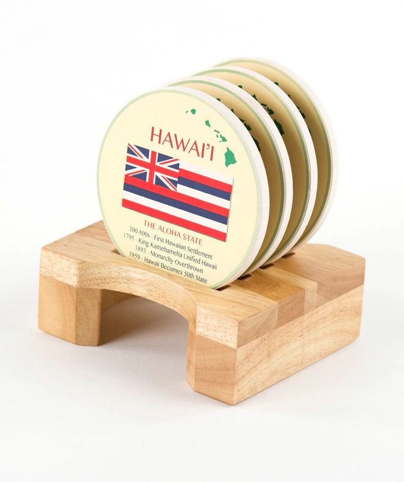 Comes with Holder Ceramic Coaster Self Designed Island of Hawaii Coaster