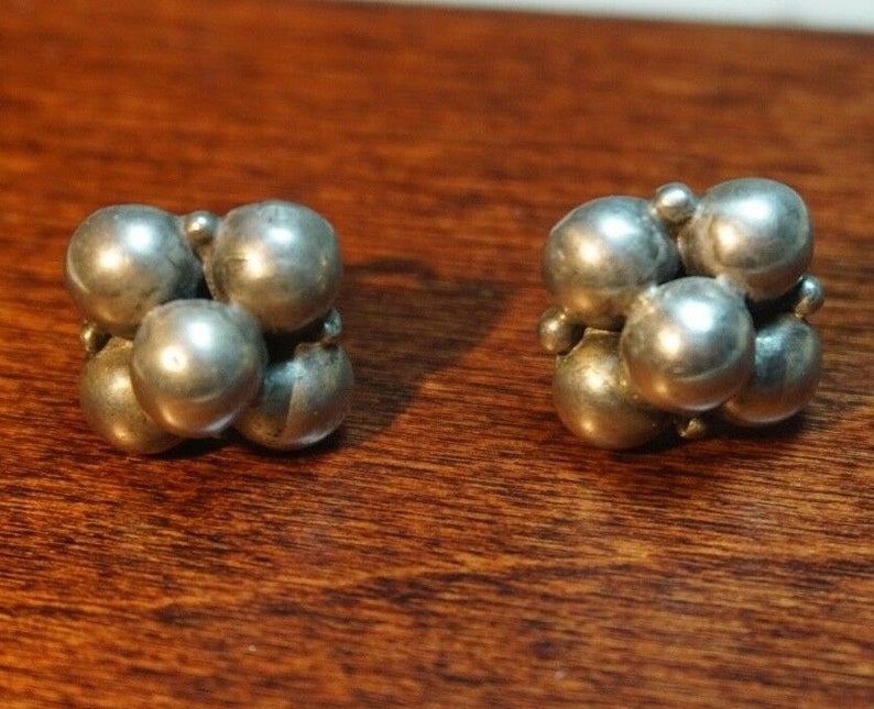 Vintage Sterling Silver EARRINGS EARLY MEXICO Beads Berries
