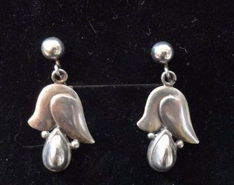 Vintage Sterling Silver Earrings Scandinavian ? 1950s 1940s Modernistic Floral Dangle