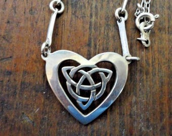 900 Solid Silver CELTIC HEART NECKLACE Patagonia Argentina Sterling 925