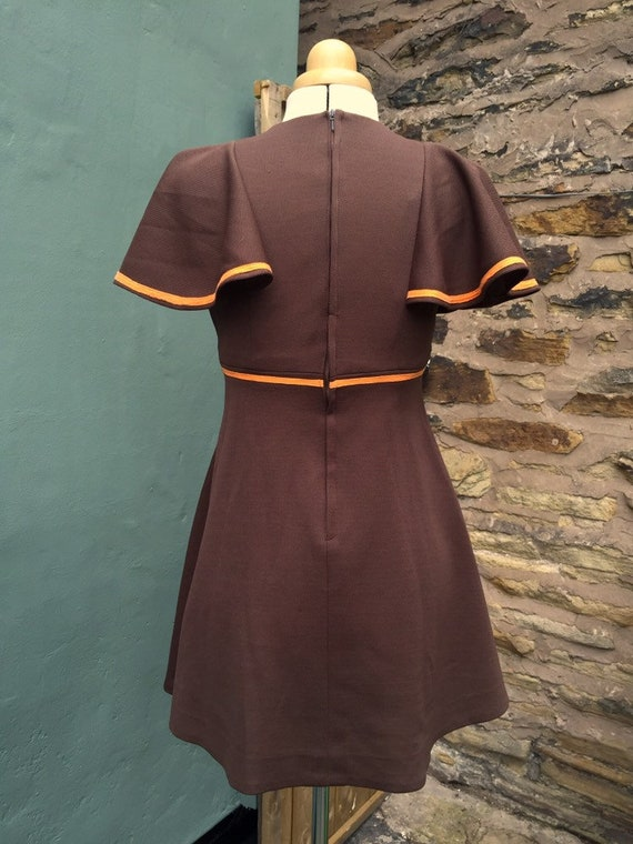 1960s vintage orange and brown mini dress - image 2