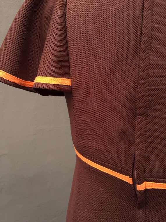 1960s vintage orange and brown mini dress - image 4