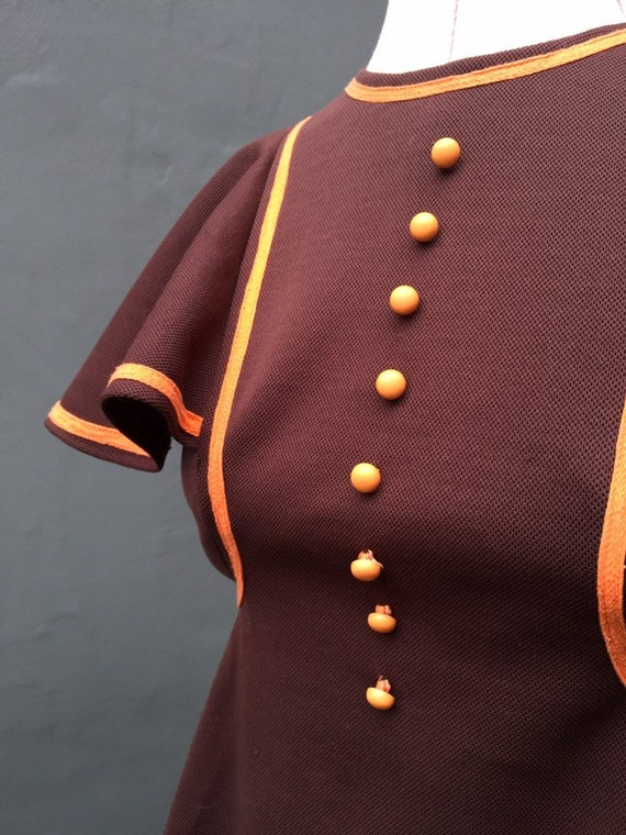 1960s vintage orange and brown mini dress - image 3