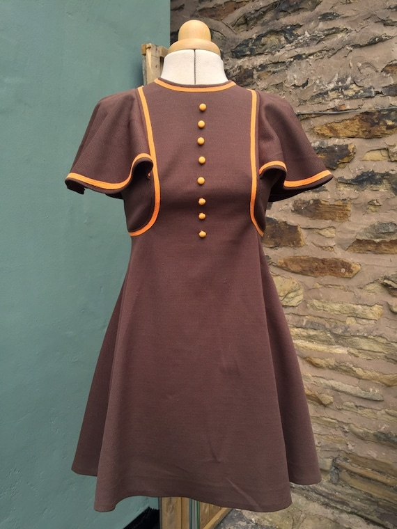 1960s vintage orange and brown mini dress - image 1
