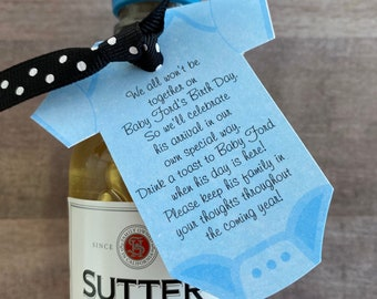 Baby Shower Favor tags for mini champagne bottle or other favor, customized onesie tags for favors, baby shower favor tag