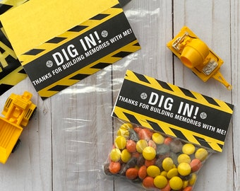 INSTANT DOWNLOAD: Construction Birthday Party Favor Favor Bag Toppers, Dig In