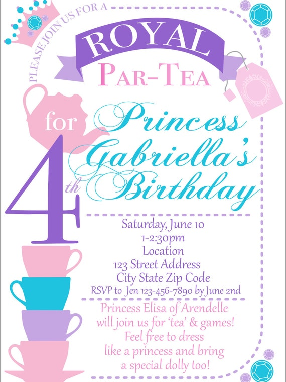 Tea Party Invitation Perfect For Mad Hatter Alice In Wonderland Or Basic Tea Party Colors And Copy Can Be Customized For All Events