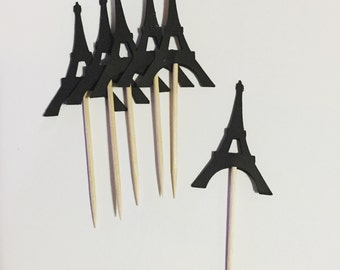 "1 dozen 2"" Eiffel tower cupcake toppers"