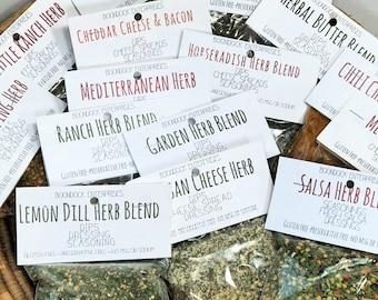 Complete Set of Herbal Seasonings and Dips - 15 Different Herb Packets - Gluten Free - No Sodium or MSG - Dried Herbal Seasonings - Boondock